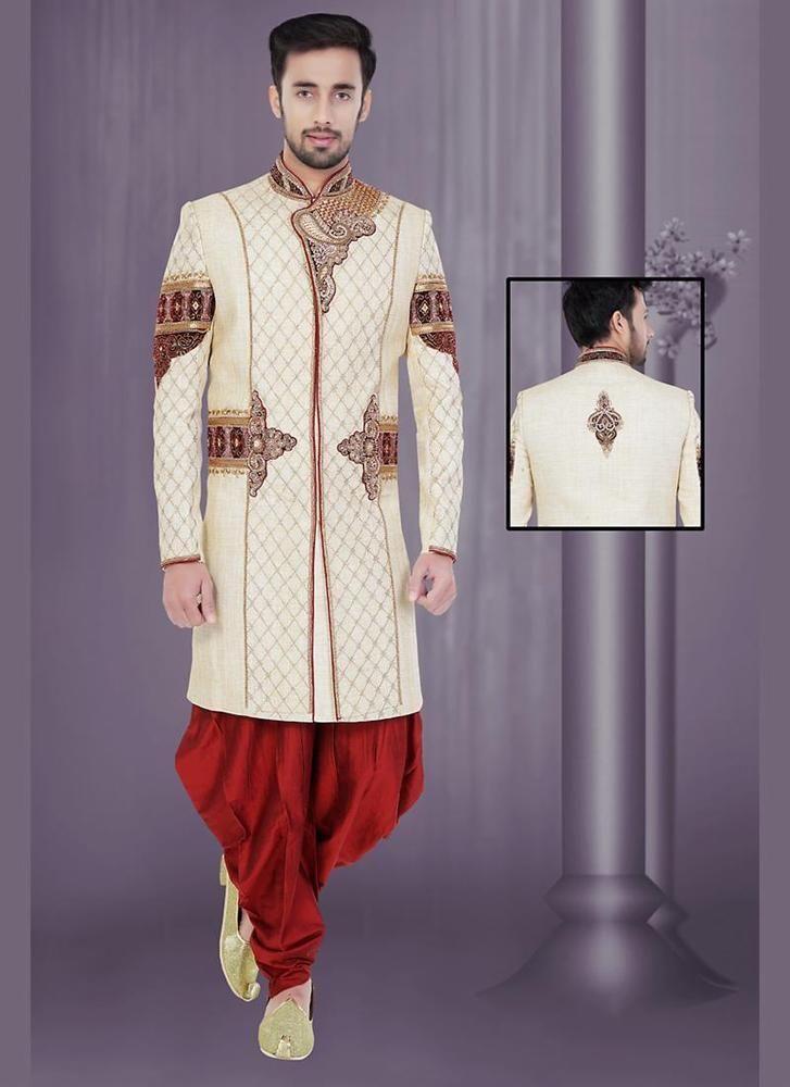 Ethnic Indostyle Indian Readymade Wedding Designer Bollywood Mens Sherwani Dress #KriyaCreation