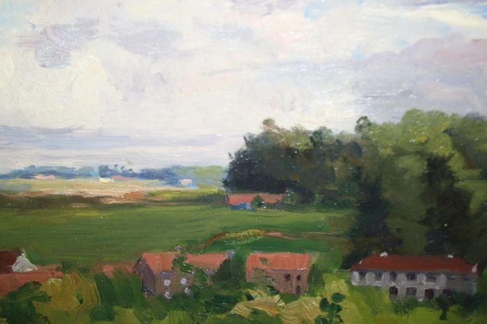 Eugene Mahaux (1874-1946) - Belgisch landschap  Eugene Mahaux Brussel 1874 - 1946Belgisch zomer landschapMedium ; olieverf op paneelMaat 40 x 50 cmgesigneerd ; rechts onder e mahaux / signed on the right belowPeriode ; 1935Gekaderd in een modern houten lijst in de maat 50 x 60 cm -Staat schilderij ; zeer goede staat geen herstellingen  zie fotopainting good condition  no damagesStaat lijst ; goed heeft hele kleine rand beschadigngen wordt er gratis bijgeleverdFrame ; good  minor damages free…