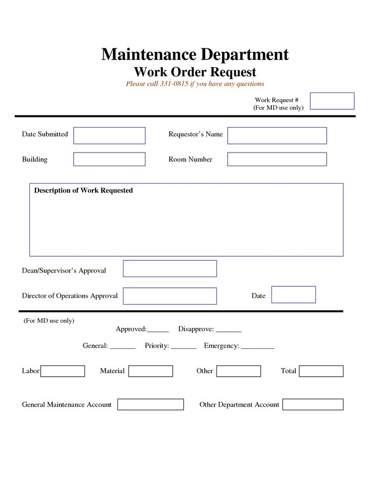work request form Maintenance Work Order Request Form work - maintenance work order form
