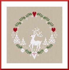 christmas xmas winter reindeer heart wreath free cross stitch pattern