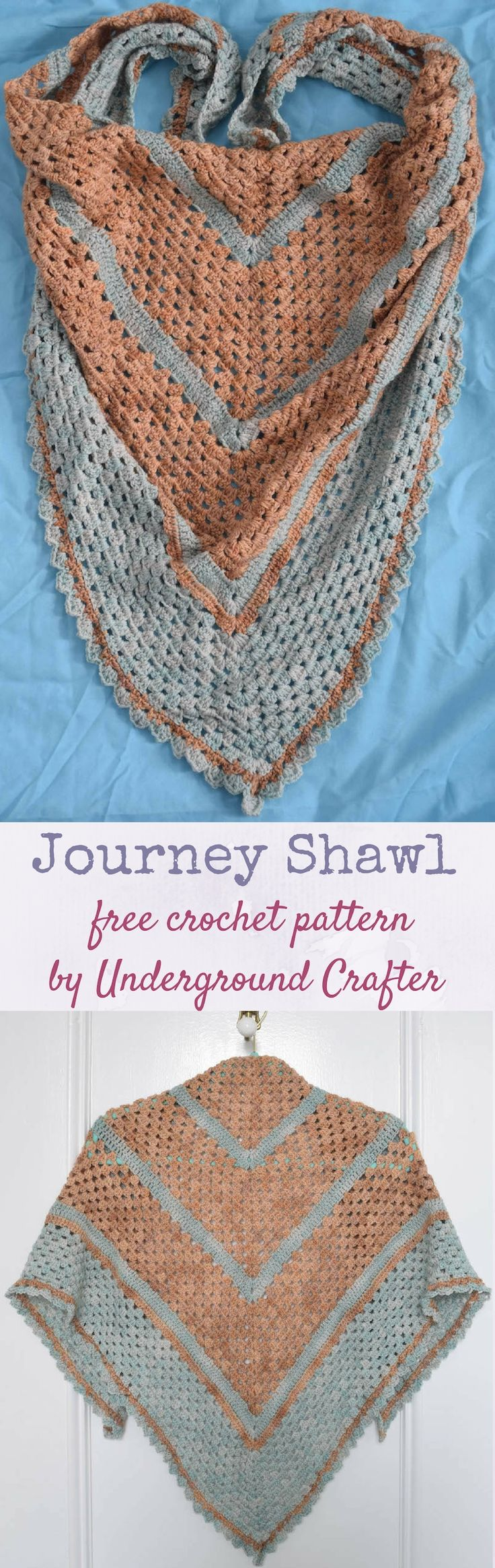 Free crochet pattern: Journey Shawl in Sweet Georgia Tough Love Sock yarn by Underground Crafter   Take a peaceful journey with this beginner-friendly triangular shawl, which is also lightweight enough to wear as a triangular scarf.