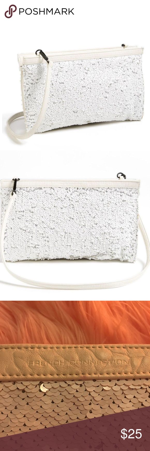 French Connection white sequin convertible clutch French Connection white sequin purse- can be worn as a crossbody or carried as a clutch. Perfect for summer-drinks by the pool, outdoor concerts, dinner at the beach! Worn approximately once or twice. Great condition but may be missing a few sequins. The sequins don't lie flat which adds a pretty, shimmery texture. French Connection Bags