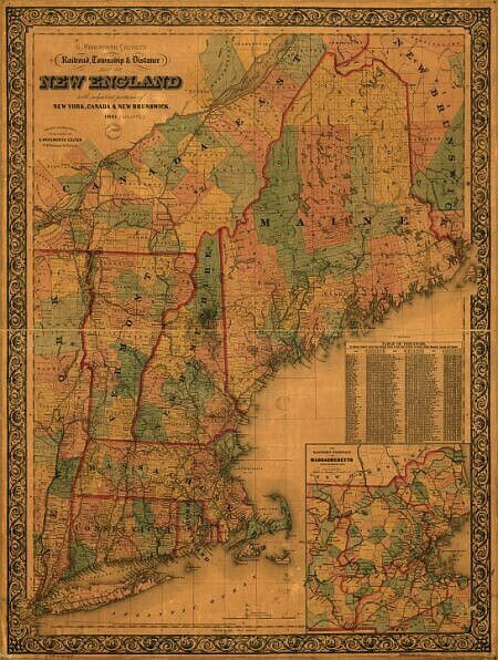 Railroad Map NY Canada New Brunswick 1861