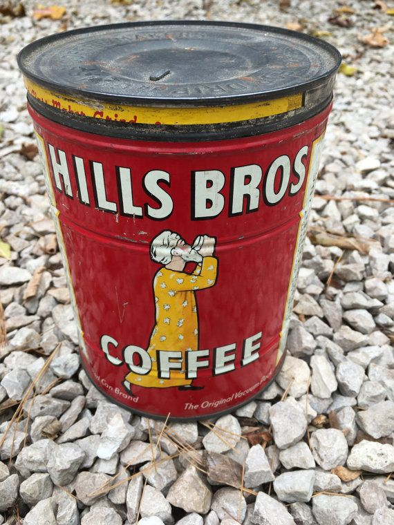 HIlls Brothers Coffee Can Tin  2 lb Large Size by DennmarWoodworks