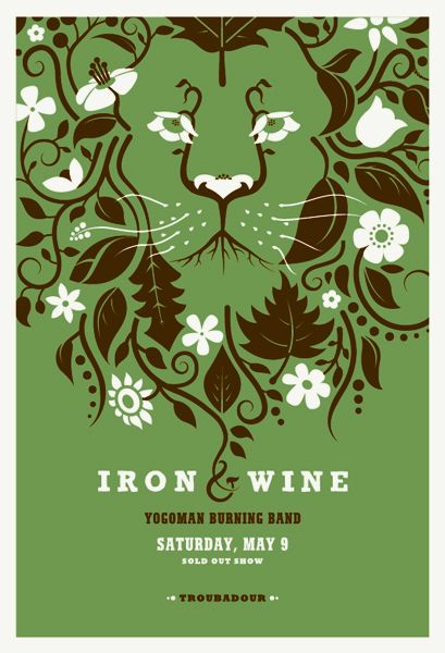 iron and wine: Poster Design, Concerts Poster, Irons And Wine, Band Poster, Wine Poster, Gig Poster, Graphics Design, Music Poster, Irons Wine