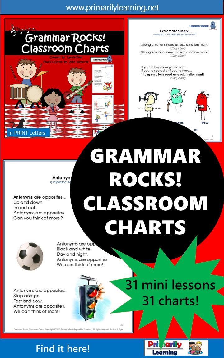 Check out these awesome grammar songs! Boys, as well as girls, will be singing  along... learning about nouns, verbs and adjectives at the same time!  Catch the garage-band beat by adding the 31 mp3's, or just use the charts as mini lessons!  A fun way to teach and learn!  (available in Print Letters or Sassoon Font) Check it out here!