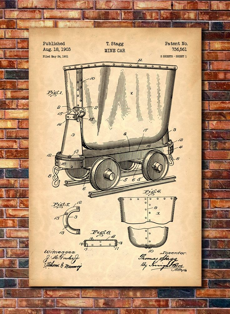 Mine Cart Patent Print Art 1903
