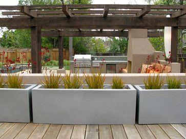 Raised Concrete Planter Design Ideas, Pictures, Remodel and Decor