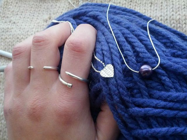 Small Knitted Heart Necklace, Knitting Needle Adjustable Ring and Purl (Pearl) necklace in Sterling Silver by Slashpile Designs