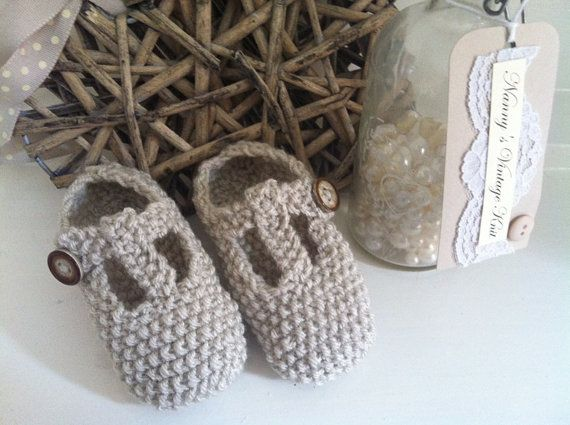 Gorgeous natural cream tbar shoes with button by NannysVintageKnit, £4.00