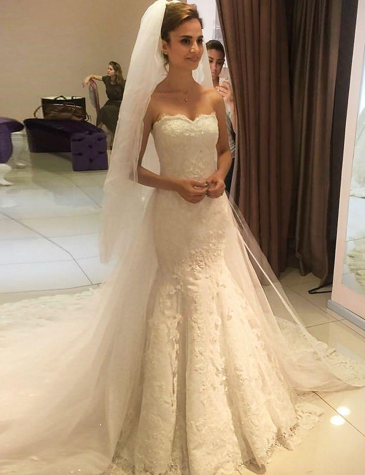 lace mermaid wedding dresses,ivory wedding gown, sweetheart bridal dresses