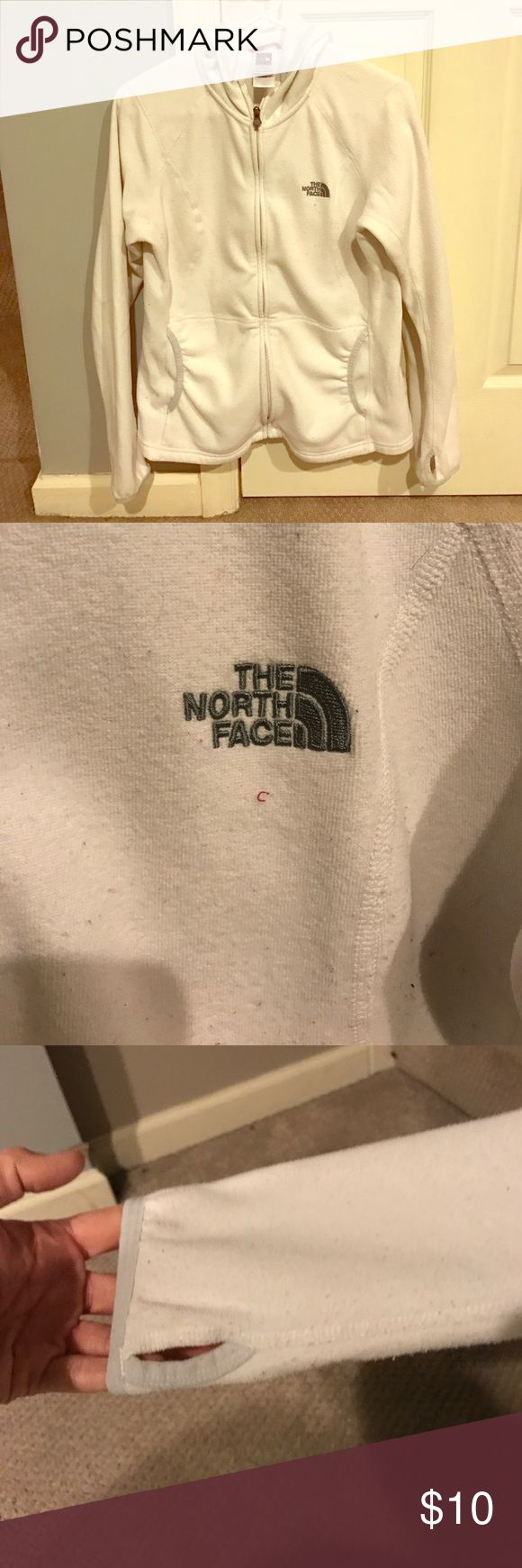 """North Face Hooded White Zip Up. Fair condition. Lightweight w/ hood.I wore this under my """"winter jackets"""" as an extra layer. Let me know if you want anymore details or pictures. Offers welcome. Bundle & Save. North Face Jackets & Coats"""