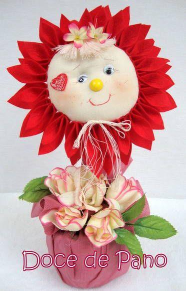 Peso De Porta Menina Flor | Doce de Pano | Elo7