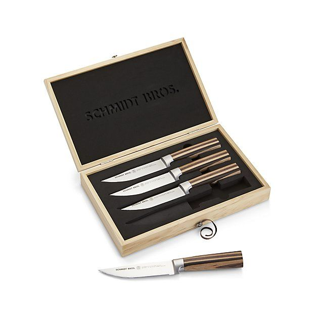 New York-based cutlery experts the Schmidt Brothers took a farmhouse approach to this set of jumbo steak knives. Rich pakka wood handles make a modern, rustic statement partnered with high-quality German steel blades. Specially weighted handles and the patented Schmidt Brothers curve provide the ideal hand position and leverage to control and guide the knives. Steak knife set is nested in a presentation box for gift giving and storage.