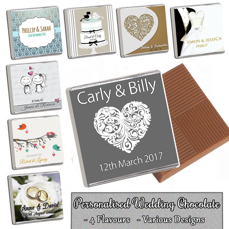 100 Personalised Chocolate Wedding Favours Table Decor - Rush Orders Welcome