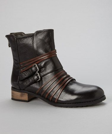 Another great find on #zulily! Black & Tobacco Pastore Leather Boot by Everybody Shoes #zulilyfinds