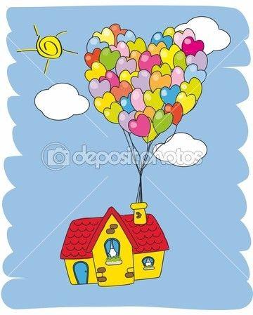 uçan balon ile ev — Stok İllüstrasyon #8016112