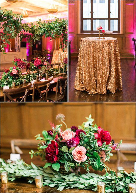 gold and magenta reception decor #receptiondecor @weddingchicks