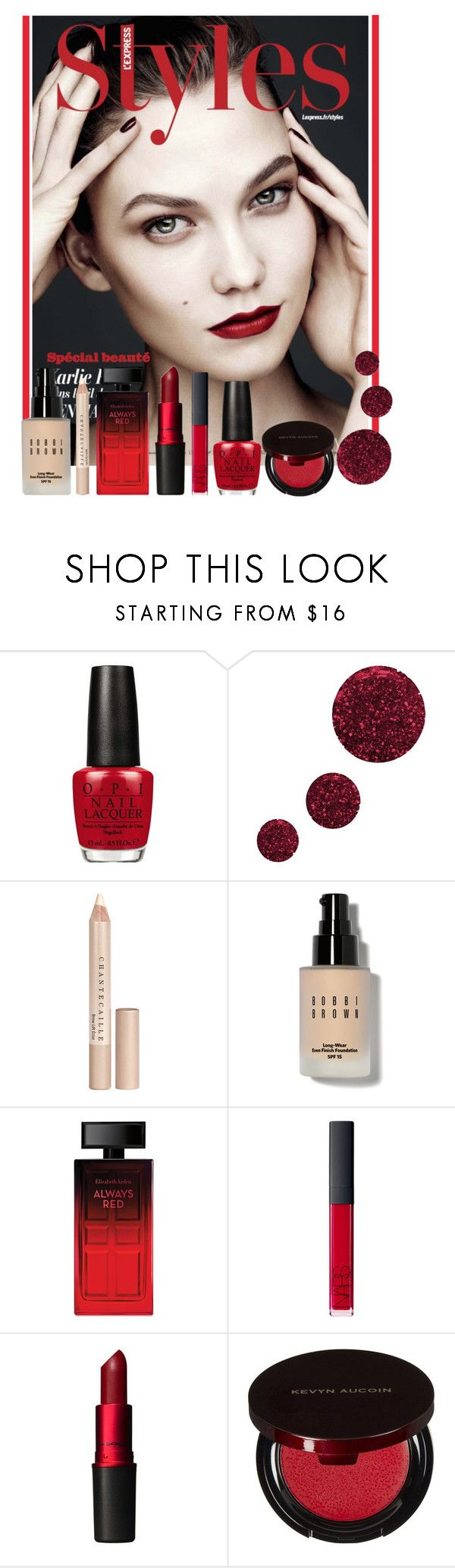 """""""Forever Red"""" by bunnylover208 ❤ liked on Polyvore featuring beauty, OPI, Topshop, Chantecaille, Bobbi Brown Cosmetics, Elizabeth Arden, NARS Cosmetics, MAC Cosmetics and Kevyn Aucoin"""