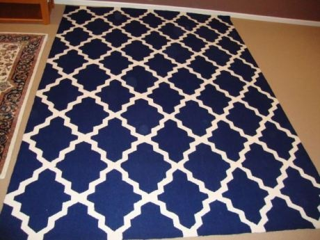Blue And White Kitchen Rug | Blue And White Trellis Rug: