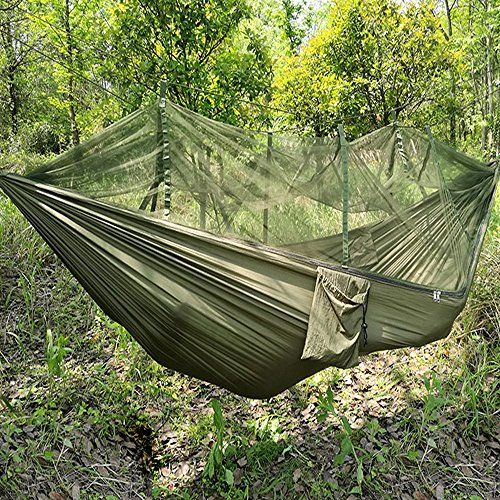 Jungle Hammock with Mosquito Net, Portable lanyard outdoor mosquito bar Sleeping hammock swing double Bed Green Hanging Bed for Camping and Hiking
