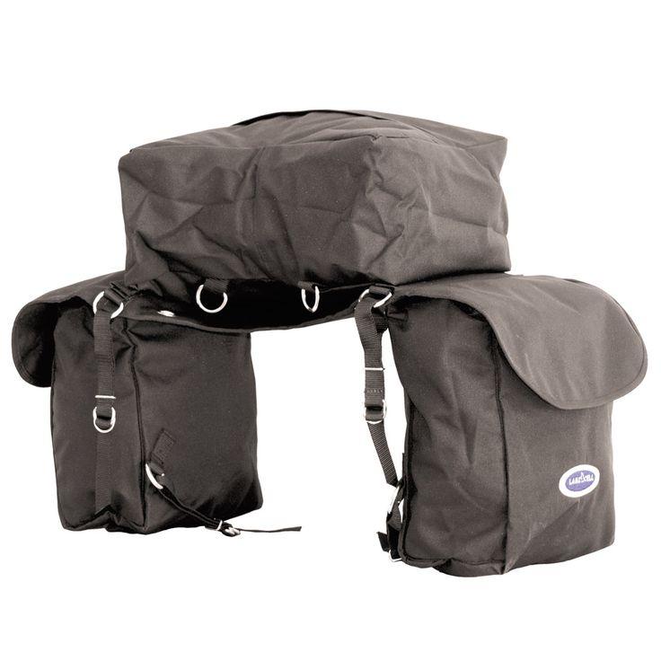 Bisaccia posteriore in nylon a tre tasche