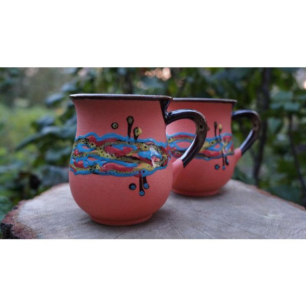 Orange ceramic tea mugs Set of 2 cups Pottery mugs Orange mugs Wife... ($34) ❤ liked on Polyvore featuring home, kitchen & dining, drinkware, pottery cups, tea-cup, ceramic mugs, pottery tea cups and wedding mugs