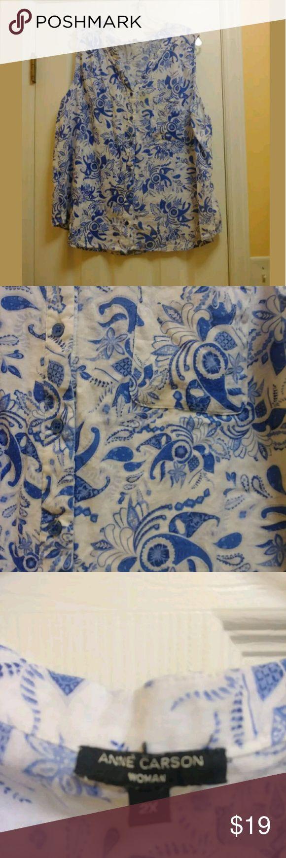 Ann Carson Womens Sleeveless Tank Blouse Sz 2X Ann Carson Womens Sleeveless Tank Blouse Sz 2X Plus Blue White HiLow Button Down  TAN Ann Carson Tops