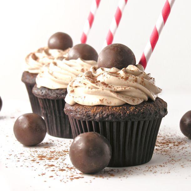 Malted Milkshake Cupcakes #cupcakes #chocolate #sweets