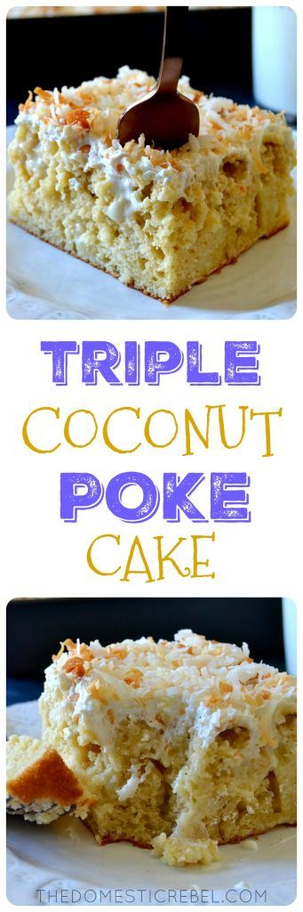 This TRIPLE COCONUT POKE CAKE is a coconut lover's dream come true! A moist, fluffy coconut cake soaked in cream of coconut & condensed milk and topped with a light & creamy whipped cream. So easy to prepare, a wonderful crowd-pleaser and great any time of year!