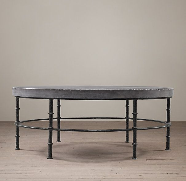 Rowen bluestone round coffee table restoration hardware 46 dial 17 h 2695 jennifer Restoration coffee tables