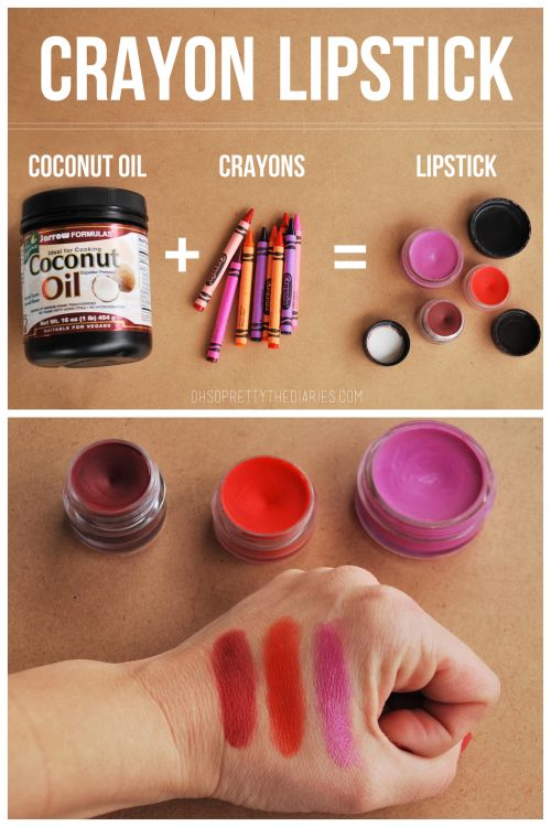 DIY Crayon Lipstick Recipe and Tutorial from Hey Wanderer.   This is a 2 ingredient DIY Crayon Lipstick recipe - crayons and coconut oil.   Note: it is recommended to use ONLY CRAYOLA CRAYONS - not generic crayons made in China that may contain lead or who knows what.   For pages more of DIY beauty and spa recipes (milk baths, sugar scrubs, chocolate facials etc…) go here: truebluemeandyou.tumblr.com/tagged/beauty   Check out this video on DIY Crayon Lipstick by madisradd on YouTube...