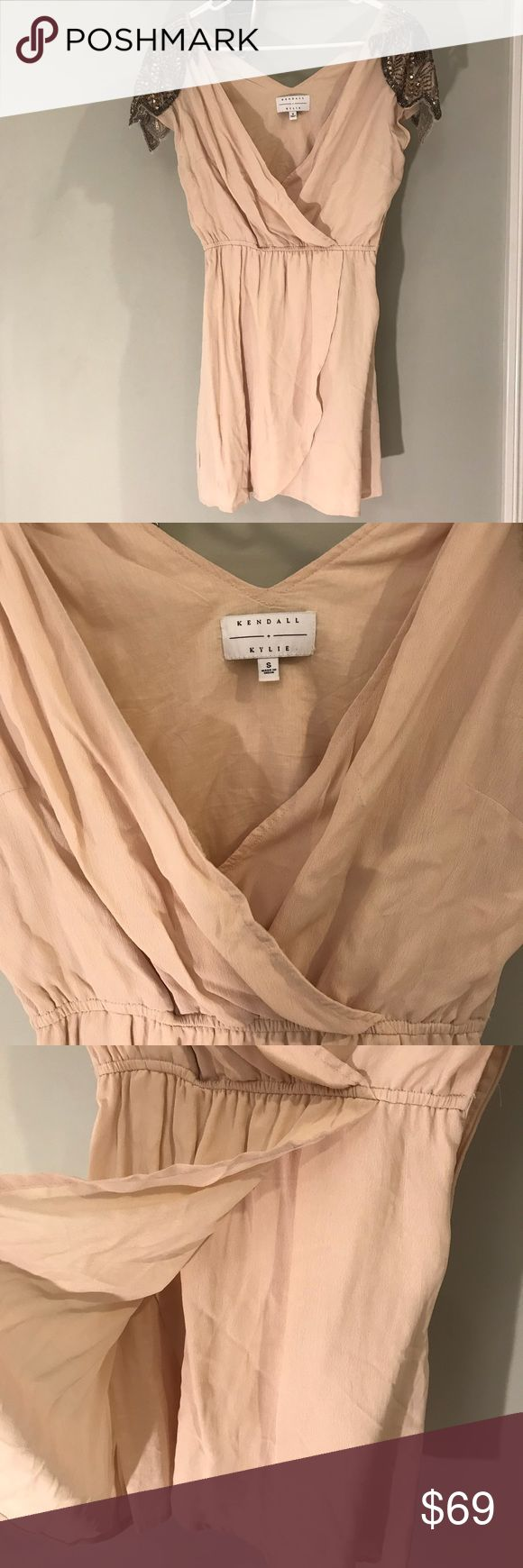 Kendall and Kylie dress Nude beaded Kendall and Kylie dress. Only worn once! The beading is perfect there is nothing missing! Willing to consider any offers! Runs a tad shorter. Kendall & Kylie Dresses Mini