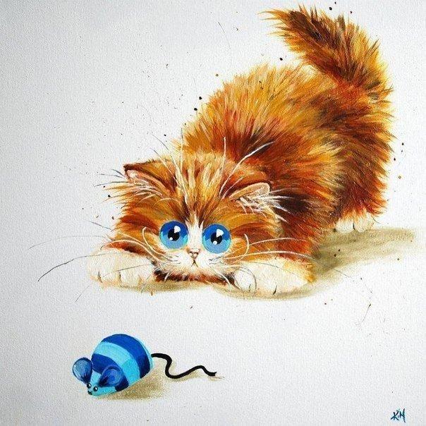 Всем здравствуйте! Мне в последнее время очень по душе стало рисовать смешных котов, кошек и котят (даже серию своих работ так и назвала - Котовасия). Ну и, конечно, такс и других собак, но таксомания - это неизлечимо :) Хочу поделиться с вами своей находкой - смешными художествами Ким Хаскинс - она рисует целый ряд животных в своеобразном шуточном стиле - кур, птиц, собак и, конечно, кошек.