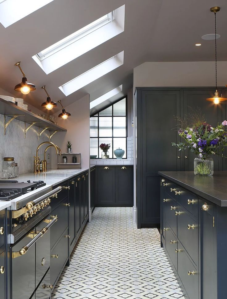 Amazing Kitchen Design With Touches Of Gold Kitchen Lighting