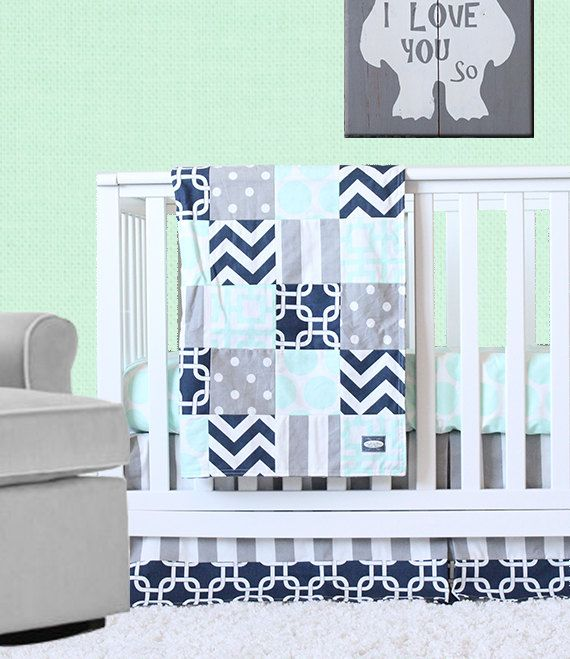 Mint Navy and Gray Crib Bedding Mint and Navy Gender