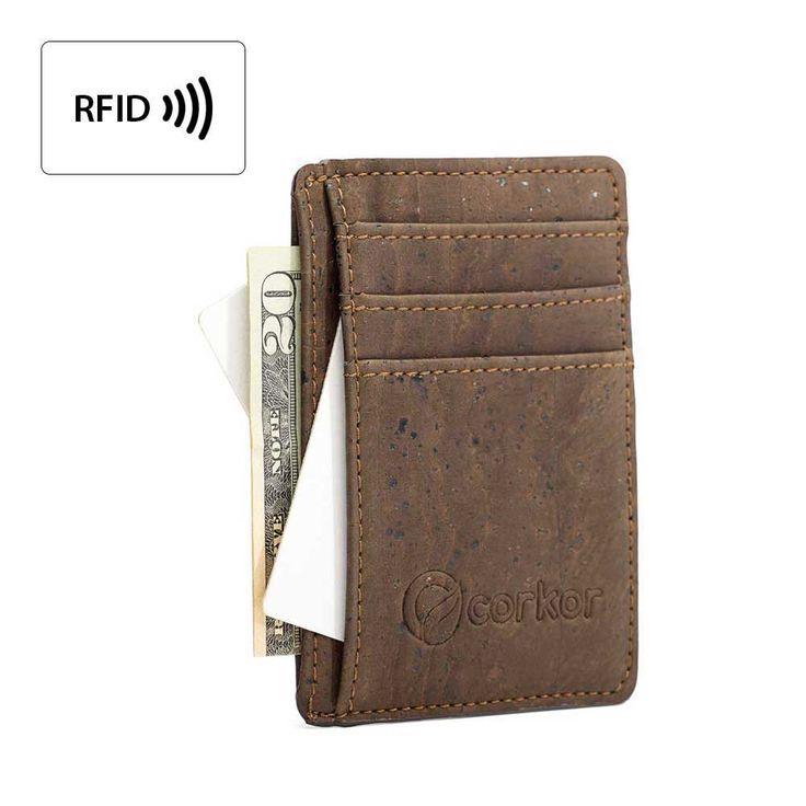 Mens Front Pocket Vegan Wallet Dark Brown Cork