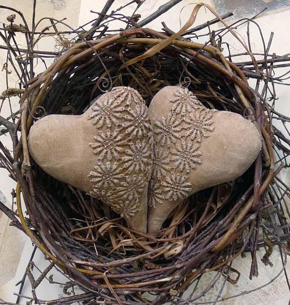 Shabby Chic hearts Primitive heart decoration Decor Cotton Fabric Hearts Wall Decor Valentine's Gift Vintage style fabric tilda heart