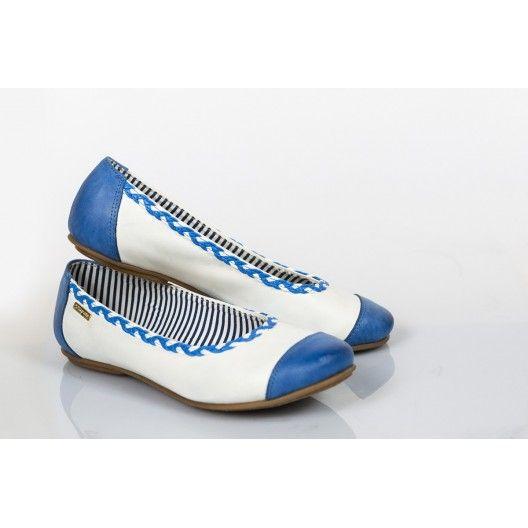 Női bőr balerina kék és fehér DT230 - manozo.hu