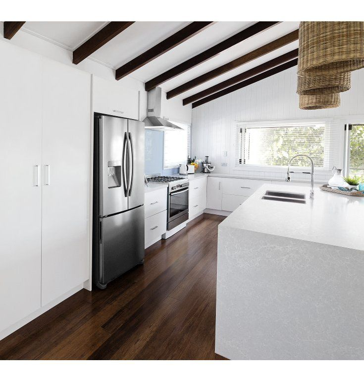 Masters Kitchens - With an island bench and space for a side-by-side fridge, the layout of the Hampton Kitchen suits a busy lifestyle and casual entertainers.