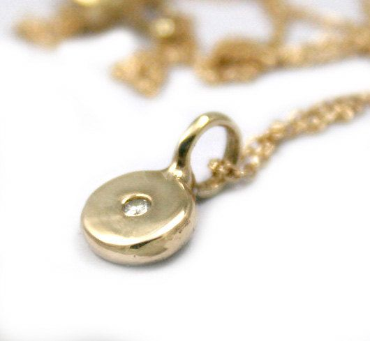 Gold+Necklace+With+Coin+Pendant+Diamond+Charm+by+Tulajewelry,+$245.00