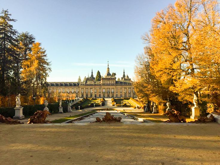 Royal gardens of the Palacio Real de la Granja de San Ildefonso. Focus on the town of San Ildefonso. The main attraction of this place's the Royal Palace.