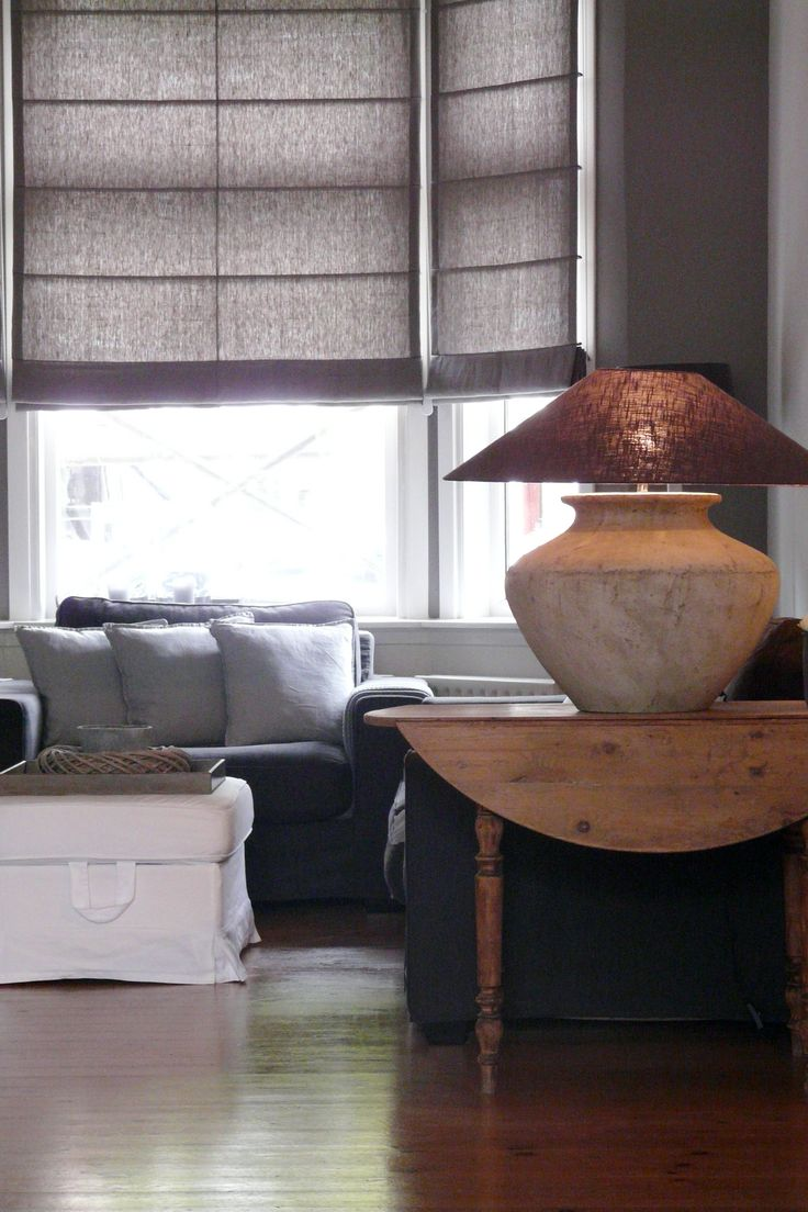 linen blinds and muted shades for the living room - Belgian style