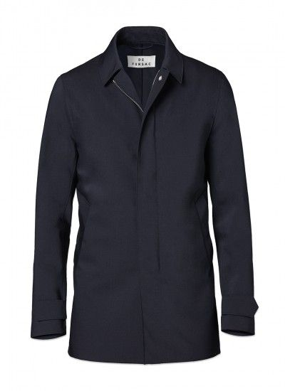 Imperméable homme en toile technique déperlante : achetez votre imperméable bleu marine 17em3fato-e326/30 et découvrez la collection de costumes De Fursac.