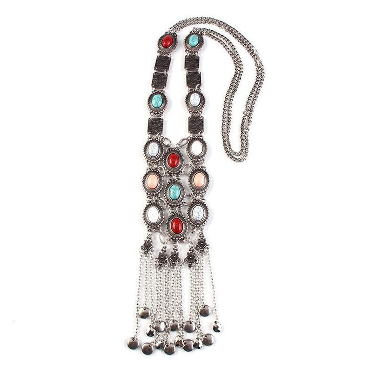 Fashion Statement Necklace - Yasma Vintage Multicolor Beads Long Necklace With Coin Tassel