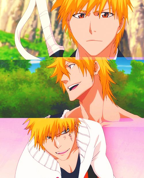 Pictures like this make me want to finish watching Bleach.  Why does he have long hair in the second one?  Why does he look like he has boobs in the last one?  So many questions I need that answers to.