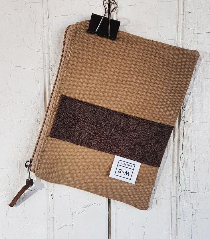 Zipper pouch - medium - Sand and Dark Brown - W & B
