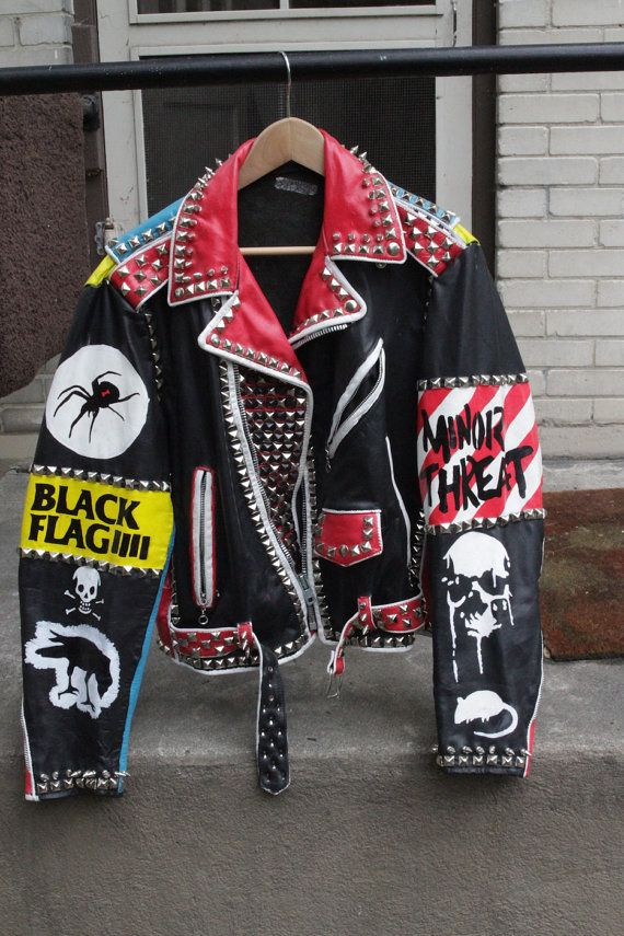 These are hand painted Vintage Leather Punk Rock Jackets With Studs and Spikes