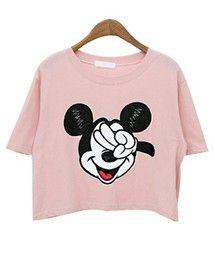 Aco Design | クロップド ミッキー tシャツ レディース/ディズニー tシャツ/クロップド丈 tシャツ/ショート丈 tシャツ/ゆるt(Tシャツ・カットソー)