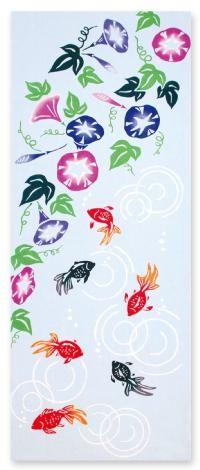 Japanese tenugui (washcloth) with morning glory and goldfish 手ぬぐい 夏池